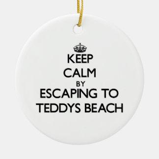 Keep calm by escaping to Teddys Beach Rhode Island Christmas Ornaments