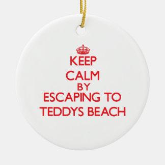 Keep calm by escaping to Teddys Beach Rhode Island Christmas Tree Ornament
