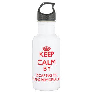 Keep calm by escaping to Veterans Memorial Beach N 18oz Water Bottle