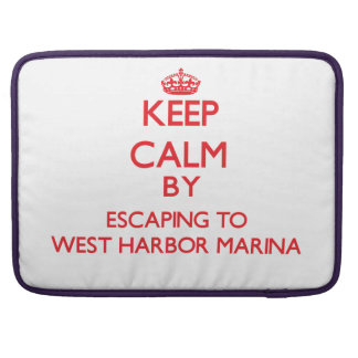 Keep calm by escaping to West Harbor Marina Northe MacBook Pro Sleeve