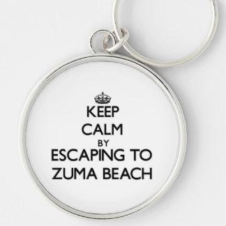 Keep calm by escaping to Zuma Beach California Keychains