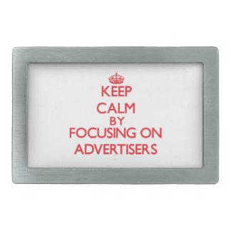 Keep Calm by focusing on Advertisers Rectangular Belt Buckles
