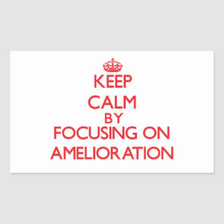 Keep Calm by focusing on Amelioration Rectangular Sticker