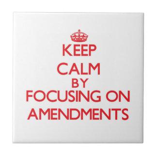 Keep Calm by focusing on Amendments Ceramic Tile
