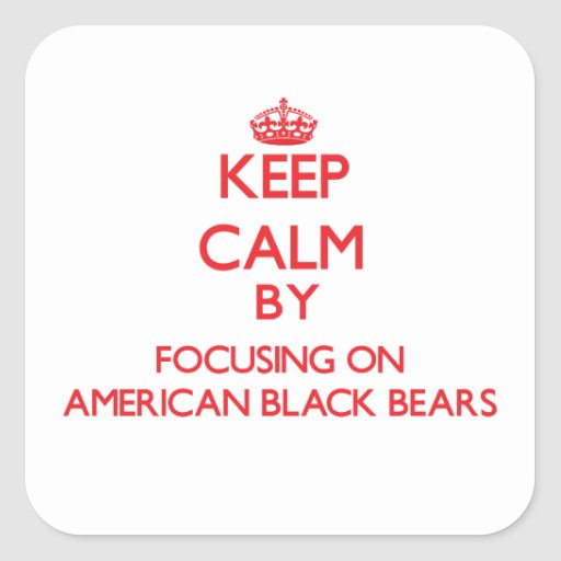 Keep calm by focusing on American Black Bears Square Stickers