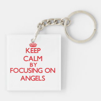 Keep Calm by focusing on Angels Double-Sided Square Acrylic Keychain