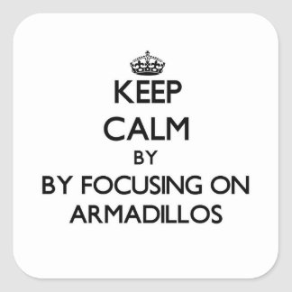 Keep calm by focusing on Armadillos Square Sticker