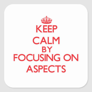 Keep Calm by focusing on Aspects Square Stickers