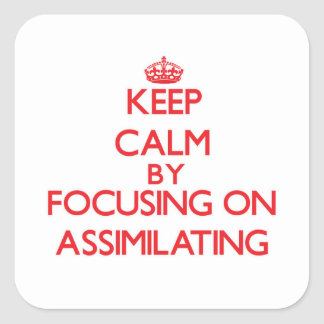 Keep Calm by focusing on Assimilating Square Sticker