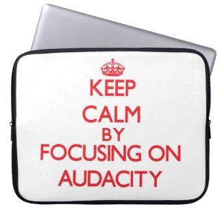 Keep Calm by focusing on Audacity Laptop Sleeves