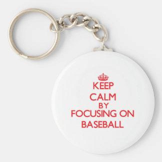 Keep Calm by focusing on Baseball Basic Round Button Keychain