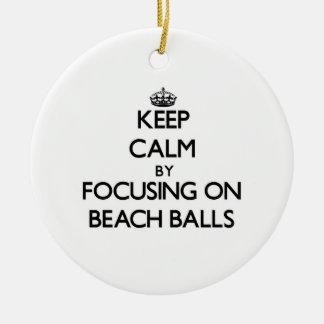 Keep Calm by focusing on Beach Balls Christmas Ornaments