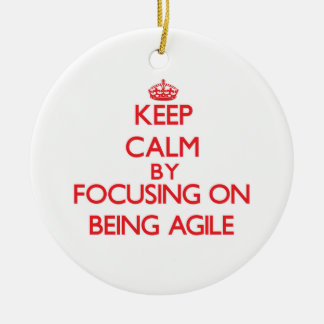 Keep Calm by focusing on Being Agile Christmas Ornaments