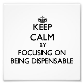 Keep Calm by focusing on Being Dispensable Photographic Print
