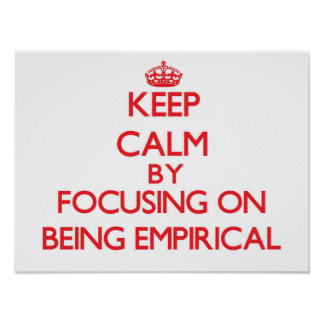 Keep Calm by focusing on BEING EMPIRICAL Poster