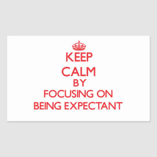 Keep Calm by focusing on BEING EXPECTANT Rectangle Stickers