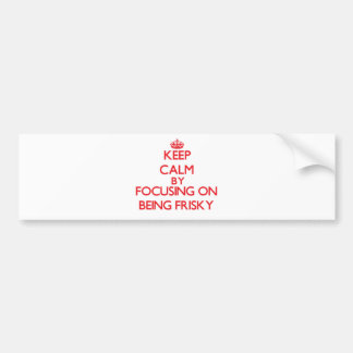 Keep Calm by focusing on Being Frisky Bumper Stickers