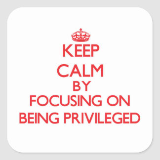 Keep Calm by focusing on Being Privileged Square Sticker