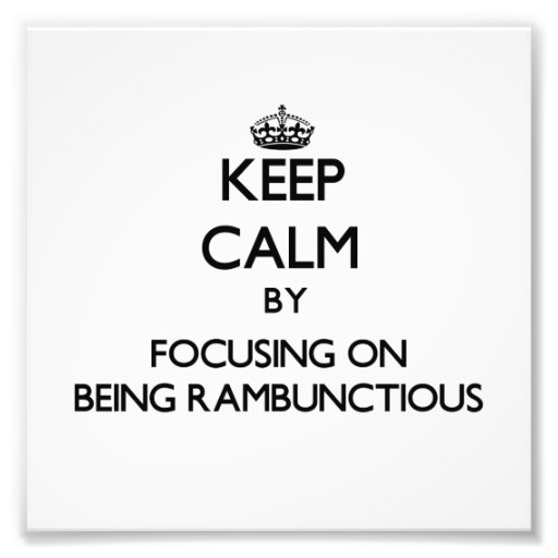 Keep Calm by focusing on Being Rambunctious Photo Print