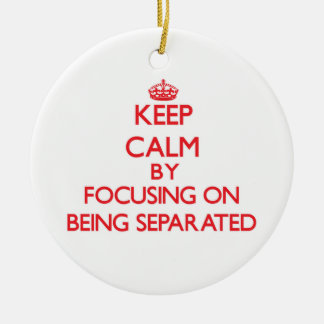 Keep Calm by focusing on Being Separated Double-Sided Ceramic Round Christmas Ornament