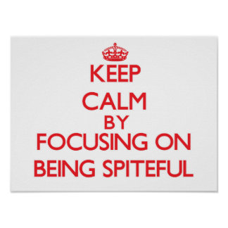 Keep Calm by focusing on Being Spiteful Poster