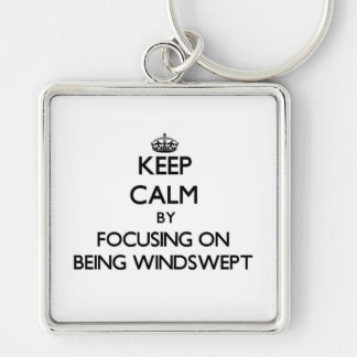 Keep Calm by focusing on Being Windswept Keychain