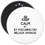Keep calm by focusing on Beluga Whales Pinback Buttons