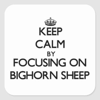 Keep Calm by focusing on Bighorn Sheep Square Sticker