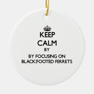 Keep calm by focusing on Black-Footed Ferrets Christmas Ornament
