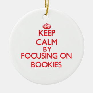 Keep Calm by focusing on Bookies Double-Sided Ceramic Round Christmas Ornament