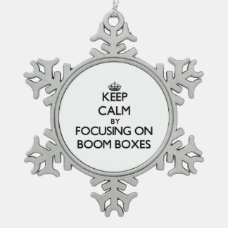 Keep Calm by focusing on Boom Boxes Snowflake Pewter Christmas Ornament