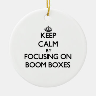 Keep Calm by focusing on Boom Boxes Double-Sided Ceramic Round Christmas Ornament