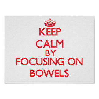 Keep Calm by focusing on Bowels Poster