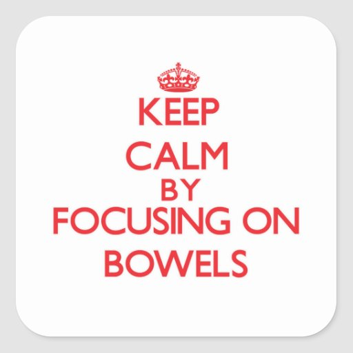 Keep Calm by focusing on Bowels Stickers