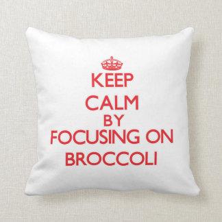 Keep Calm by focusing on Broccoli Throw Pillow
