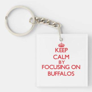 Keep calm by focusing on Buffalos Single-Sided Square Acrylic Keychain
