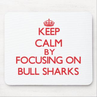Keep calm by focusing on Bull Sharks Mousepad