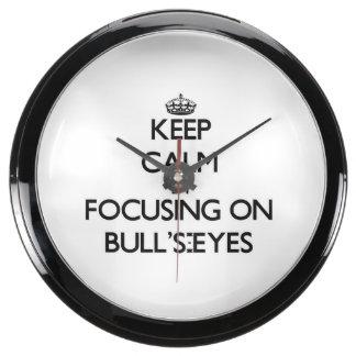 Keep Calm by focusing on Bull'S-Eyes Aqua Clocks