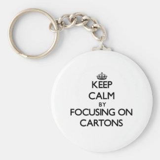 Keep Calm by focusing on Cartons Key Chain