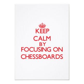 Keep Calm by focusing on Chessboards Custom Invitations