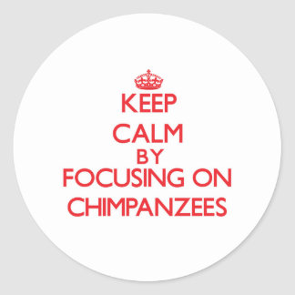 Keep Calm by focusing on Chimpanzees Stickers