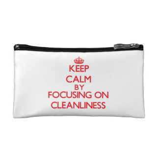 Keep Calm by focusing on Cleanliness Cosmetic Bags
