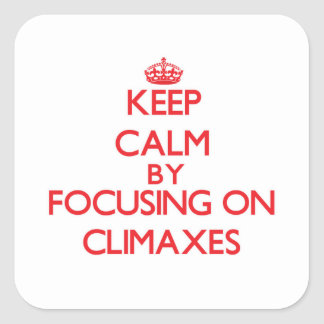 Keep Calm by focusing on Climaxes Square Sticker