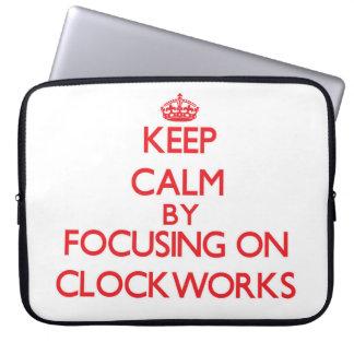 Keep Calm by focusing on Clockworks Laptop Computer Sleeve