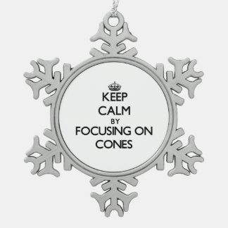Keep Calm by focusing on Cones Snowflake Pewter Christmas Ornament