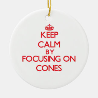 Keep Calm by focusing on Cones Double-Sided Ceramic Round Christmas Ornament