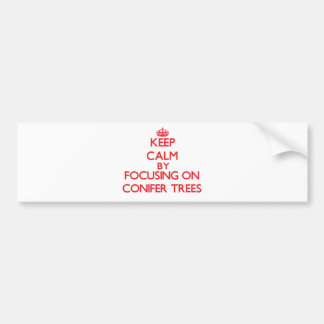 Keep Calm by focusing on Conifer Trees Bumper Sticker