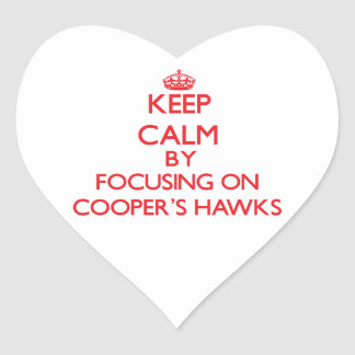 Keep calm by focusing on Cooper's Hawks Heart Stickers