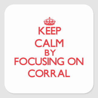 Keep Calm by focusing on Corral Square Stickers