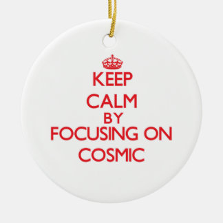 Keep Calm by focusing on Cosmic Double-Sided Ceramic Round Christmas Ornament